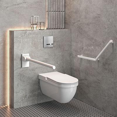 A tendência do « design para todos », traduz-se no esmorecimento da fronteira entre os espaços sanitários dedicados às pessoas com mobilidade reduz...